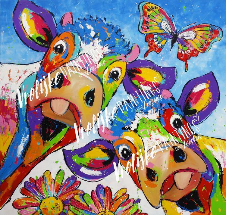Diamond painting koeien met vlinder