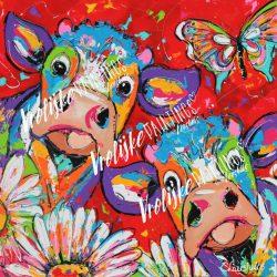 Diamond painting rode koeien